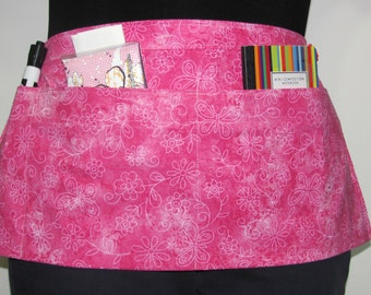 Waist Apron for Teachers, Vendors, Servers, Crafters, Gardeners with Butterfly and Flower Print on Pink Fabric (3 Pockets)