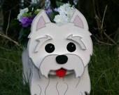West Highland Terrier. (Westie) Garden Planters. Handmade Garden Ornaments.