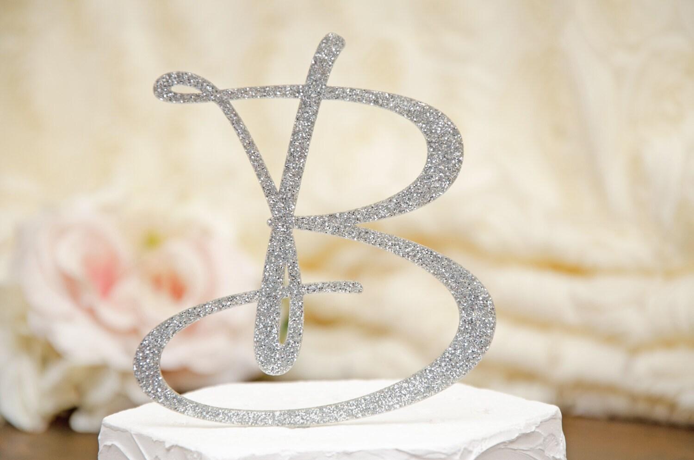Personalized Monogram Glitter Wedding Cake Topper 6 Inch