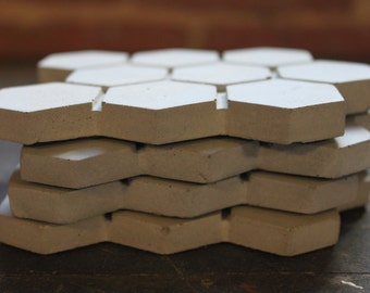 Gray Hexagon Concrete Coasters. Discontinued/Factory Second/ Set of 4