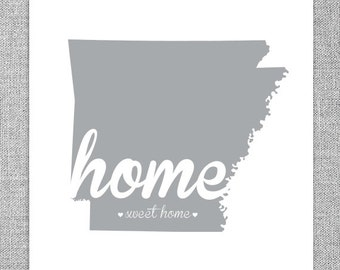 Arkansas Wall Art - Home Sweet Home - State Print  Home Decor
