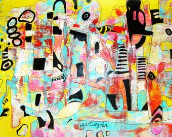 """Original modern abstract painting contemporary art decor 12"""" by MARTLEQUIN number 442"""