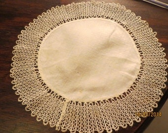 White Linen circle mat trimmed with hand stitched fine cotton frill