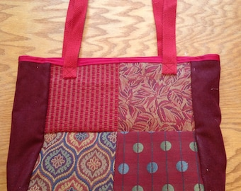 Dark red patchwork shoulder tote bag purse - made from upcycled upholstery fabric samples