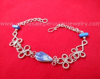 Blue Sodalite Teardrop Alpaca Silver Clovers Bracelet Peruvian Jewelry - Handmade in Peru