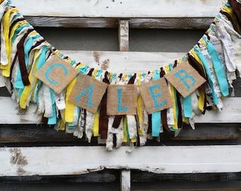 Shabby Chic Rag Garland, Fabric Banner, Baby Shower Decor, Photo Prop, Rustic Wedding Decor, Customizable Rag Garland