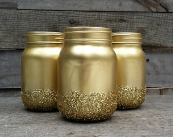 Gold Glitter Mason Jars, Shabby Chic Painted Mason Jars, Rustic Wedding Decor, Painted Mason Jars, Baby Shower Decor, Rustic Decor, Set of 3