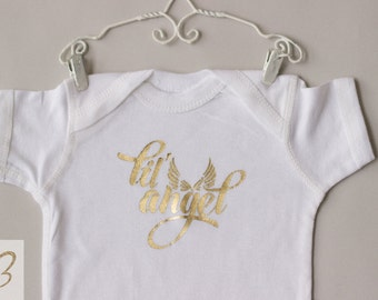 Inspirational-Lil' Angel BabyOnesie-White-12 Months-ReadyToShip