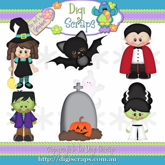 Halloween Fright Night Clip Art Set Clipart by Digiscrapsau
