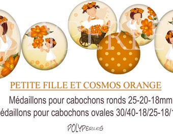 Medallions digitals round and oval cabochons * girl and orange cosmos *.