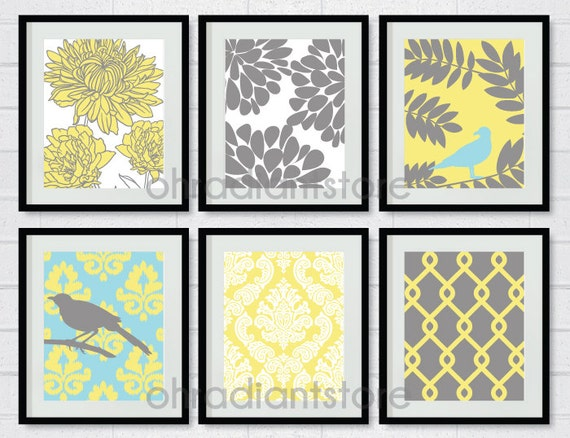 Items Similar To Yellow Grey Bird Flower Digital Printable