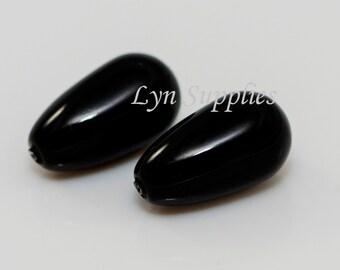 5816 MYSTIC BLACK 15x8mm Swarovski Crystal Half Drilled Pearl Teardrop 4pcs or 10pcs