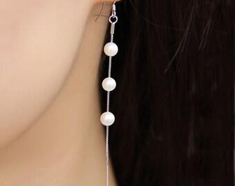 long pearl earrings,hook earrings, genuine natural freshwater hanging pearl earings dangling, 10cm sterling silver 925 chain earrings ER058