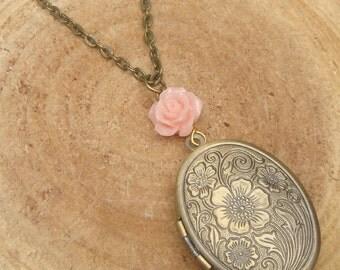 Antique Brass Flower Locket Necklace Victorian Jewelry Gift Vintage Style