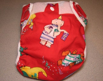 birthday animals cloth diaper cover, waterproof PUL, large