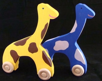 Handmade Wooden Giraffe Yellow