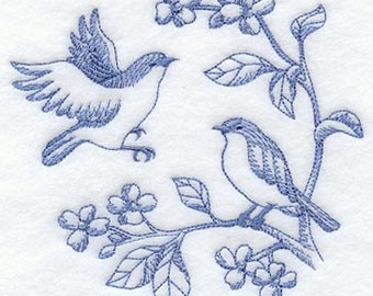 Flour sack towel pair Blue birds EmbroideredGreat Gift!