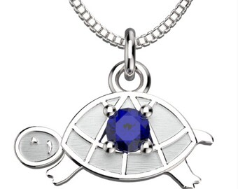 Birthstones Turtle September Sapphire Pendant with 18' Necklace
