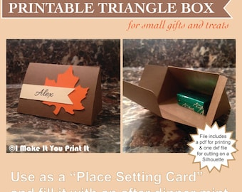 Printable Triangle Box Template for cutting by hand or with a Silhouette Cutting Machine