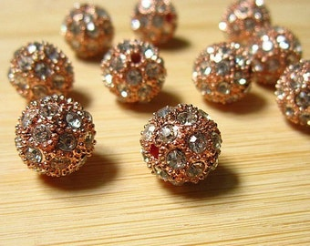 20Pcs/lot 10MM/12MM Rose Gold Plated Pave Disco Ball Loose Charms Metal Rhinestone Beads Spacer Findings