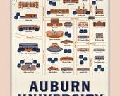Auburn Map Print 12x18