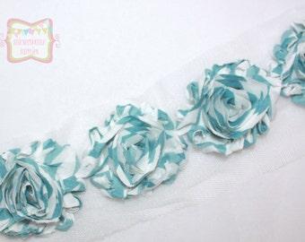 "2.5"" Turquoise White Stripe Shabby Rose Trim"