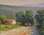 Original Fine Art Landscape oil painting - Farm house and field - Countryside scene of Tuscany Italy - Impressionist style oil painting