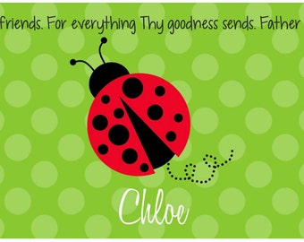 Personalized Placemat - Kids Placemat - Childrens Placemat - Childs Placemat - Laminated Placemat - Baptism Gift - Red Ladybug