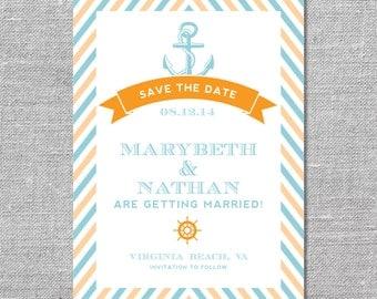 Nautical Save the Date   DIY Printable or Printed   5x7