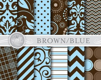 "BROWN & BLUE Digital Paper Pack Pattern Prints, Instant Download, 12"" x 12"" Patterns Backgrounds Print Baby Boy"