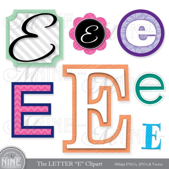 "Items similar to LETTERS CLIPART Letter ""E"" Clip Art ..."