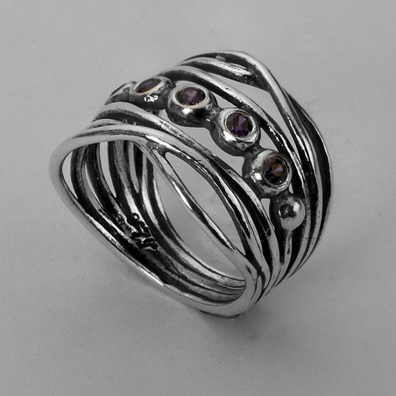 Silver Ring Cubic Zirconia CZ Hearts Luxury Swan Wedding Jewelry for Woman Amethyst Purple Vintage Fashion Brand Rings