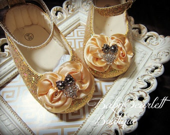 Gold Sequins Baby Girl Shoes,Crib Shoes