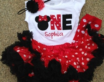 Red and black minnie mouse birthday outfit - 1st birthday shirt petti skirt and headband - custom birthday shirt