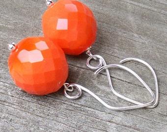 Greta - GORGEOUS 20mm Round Multifaceted Vivid Orange Czech Glass Silver Fish Hook Dangle Earrings - Halloween - Fall - Autumn Colors