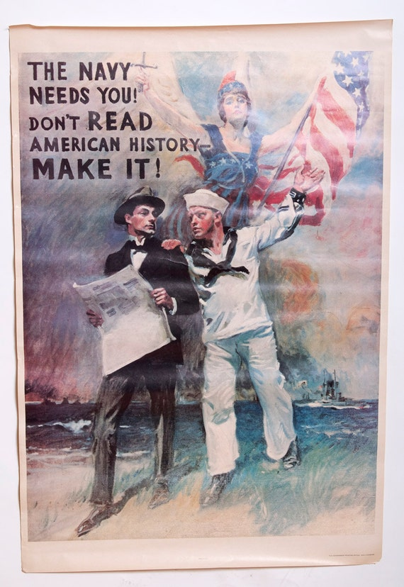 Vintage WW2 Navy Poster repro