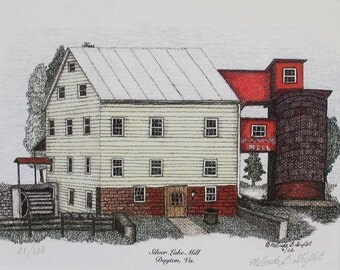 Pen and Ink and Colored Pencil shirink wrapped print - Silver Lake Mill, Dayton, Virginia