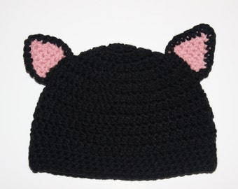Baby Girl Cat Hat, Cat Hat, Toddler Girl Cat Hat- Black Hat with Pink Cat Ears