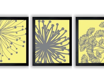 INSTANT DOWNLOAD Yellow Grey Gray Set of 3 Dandelion Art Printable Abstract Art Flower Print Wall Decor Modern Minimalist Bathroom Bedroom