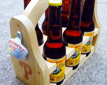 Wooden six pack holder with customization option