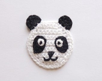 Panda Applique 2pcs - From Cotton Yarn-  Supplies For Clothing, Hair Clips, Handbag