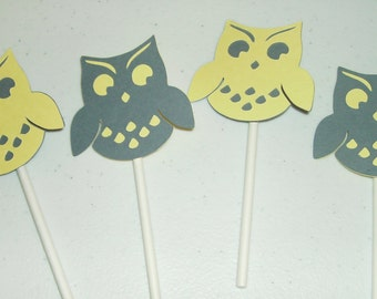 Gender Reveal Cupcake toppers Boy or Girl, Owls