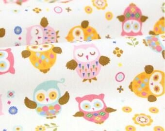 Interlock Knit Cotton Fabric Owl