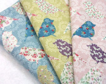 Cotton Fabric Big Bird in 3 Colors By The Yard