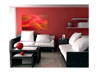 "18 x 24 Abstract acrylic painting ""Fall Rain"""