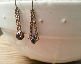 Earrings - Purple Agate and Copper Chain