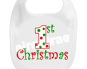 Personalized Christmas Bib ~ First Christmas ~ Free Shipping