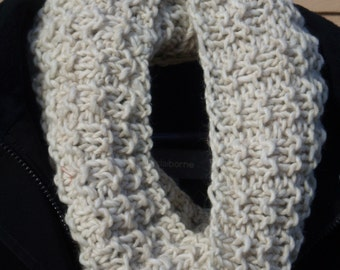 Hand knit infinity cowl in a comfortable acrylic blend