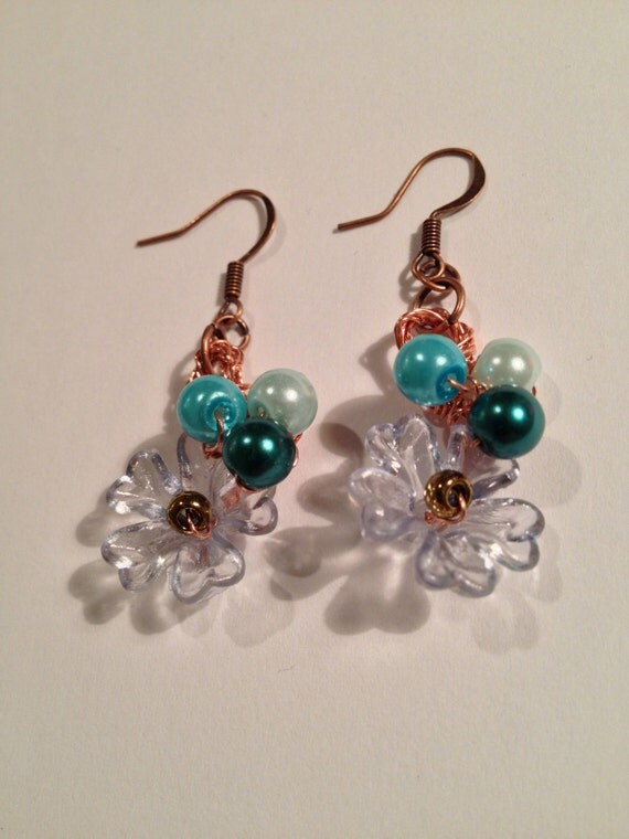 Spring in Blue Bloom - handmade copper wire crochet earrings with various blue pearls and Lucite flowers.