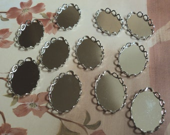 18x13 silvertone oval lace edgependant settings 1 top loop 12 pieces